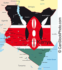Kenya - Abstract color map of Kenya country colored by...