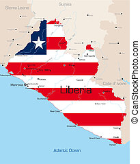Liberia - Abstract color map of Liberia country colored by ...