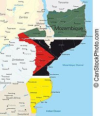 Abstract color map of Mozambique country colored by national flag