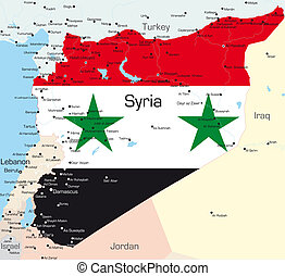 Abstract color map of Syria country colored by national flag