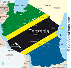 Abstract color map of Tanzania country colored by national flag