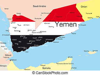 Yemen - Abstract color map of Yemen country colored by ...