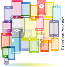 Abstract color speech cloud of modern mobile phones