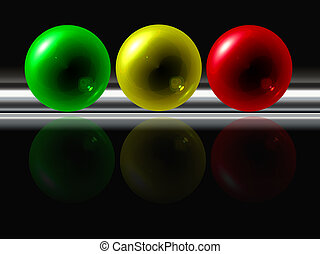 abstract color spheres with reflection on black background