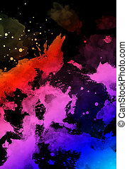 abstract color splashes on black background.