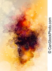 abstract color splashes on ocre background.