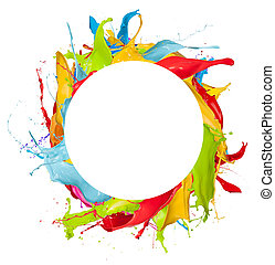 Abstract color splashes in circle shape, isolated on white background
