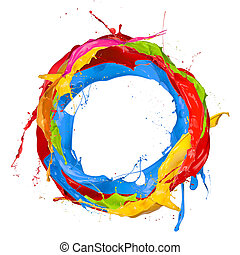 Abstract color splashes on white background