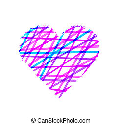 Abstract color striped pattern heart