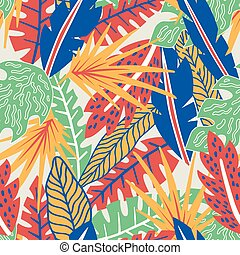 Abstract color tropical leaves seamless pattern