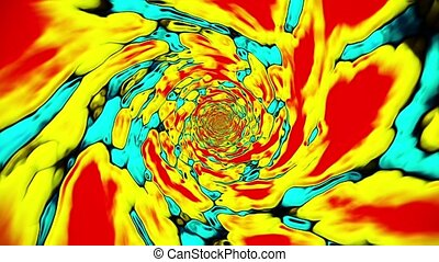Abstract color tunnel in yellow-red