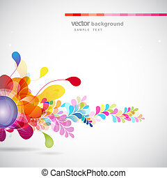 abstract colored background with flowers