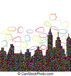 Abstract colored city