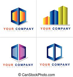Abstract colored cube logo vector set