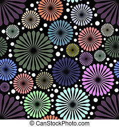 Abstract colored flowers on black background. Art deco style.
