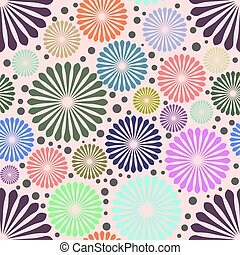 Abstract colored flowers on purple background. vector illustration