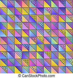 Abstract Colored Geometric Gradient Seamless Pattern of Art Doodle Triangles of Pastel Color.