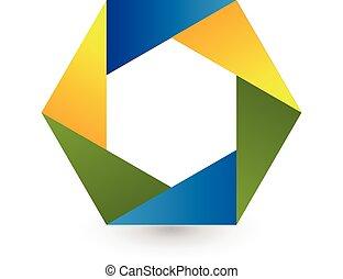 Abstract colored hexagon shape logo
