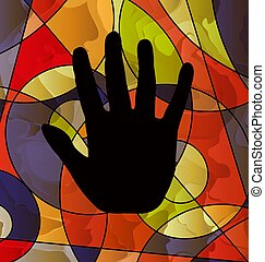 abstract colored image of black hand