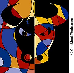 abstract colored image of bull
