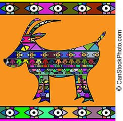 abstract colored image of goat