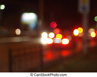 Blurred image of light from the glare of headlights