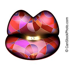 abstract colored lips and diamond ring - white background,...