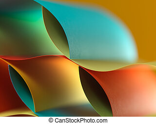abstract colored paper structure on yellow background