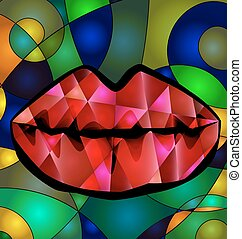 abstract colored red lips - abstract colored background lips...
