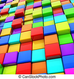 Abstract colorful 3D cubes background.