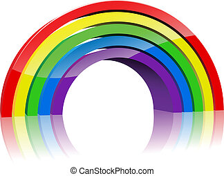 Abstract colorful 3D rainbow isolated on white background.