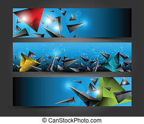 Abstract colorful 3D triangle