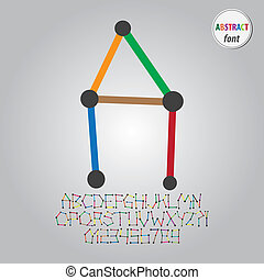 Abstract Colorful Alphabet and Digit Vector