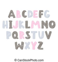 Abstract colorful alphabet for kids stuff. Vector Illustration.
