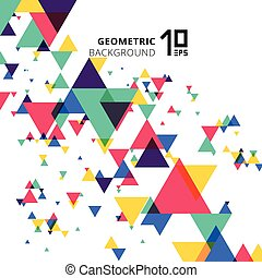 Abstract colorful and creative modern geometric overlapping triangles on white background.