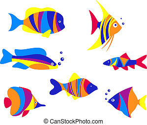 Abstract colorful aquarium fishes set isolated on white...