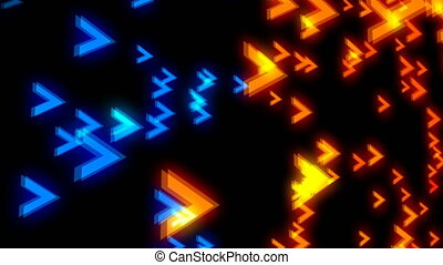 Abstract colorful arrows on black background. Digital...