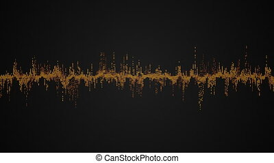 Abstract colorful audio wave on black background