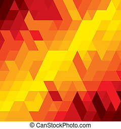 abstract colorful background of diamond, cube & square shapes- vector graphic. This illustration consists of various geometric shapes in orange, red, brown colors