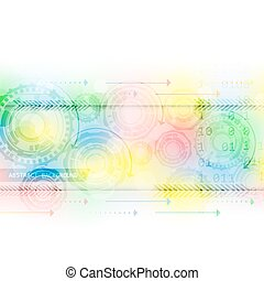 Abstract colorful background with gear wheels and arrows, vector illustration