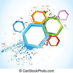 Abstract colorful background with hexagons