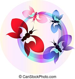 Abstract colorful banner with butterflies. Vector illustration.