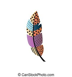 Abstract colorful bird feather with orange color, black dots