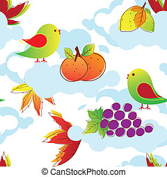 Abstract colorful birds seamless