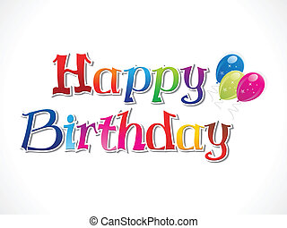 abstract colorful birthday text vec
