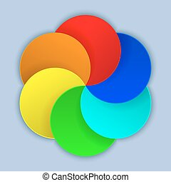 Abstract colorful blank paper circles vector template.