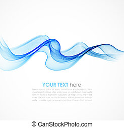 Abstract colorful blue vector background with curved lines. ...