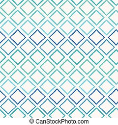 Abstract colorful blueish ombre geometric seamless vector pattern background with brush stroked diamond shapes for fabric, wallpaper, scrapbooking projects or backgrounds.