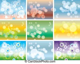 Abstract colorful bokeh. Set of multicolored backgrounds.