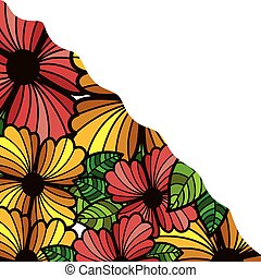 abstract colorful border with flowers and leaves
